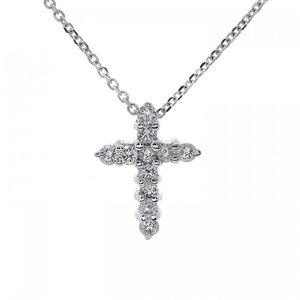 0.40 Ct Round Diamond Cross Pendant 14K White Gold
